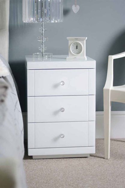 An Image of LUCIA White Glass Bedside Table with 3 Drawers