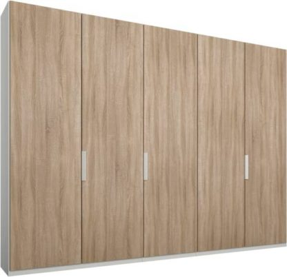 An Image of Caren 5 door 250cm Hinged Wardrobe, White Frame, Oak Doors, Standard Interior