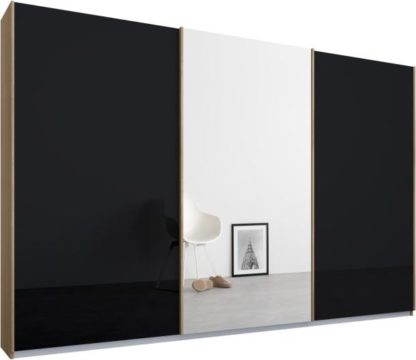 An Image of Malix 3 door 270cm Sliding Wardrobe, Oak frame,Basalt Grey Glass & Mirror doors , Premium Interior