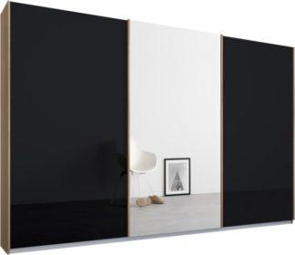 An Image of Malix 3 door 270cm Sliding Wardrobe, Oak frame,Basalt Grey Glass & Mirror doors, Standard Interior