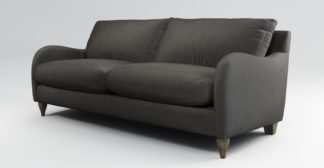 An Image of Custom MADE Sofia 3 Seater Sofa, Plush Asphalt Velvet with Light Wood Leg