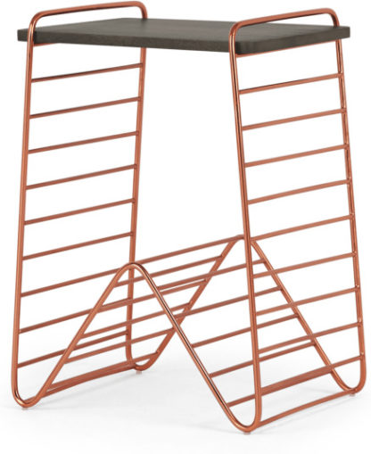 An Image of Dena Bedside Table, Copper and Dark Stain Mango