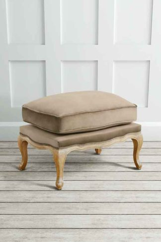 An Image of Le Notre French Vintage Style Shabby Chic Oak Stool Latte