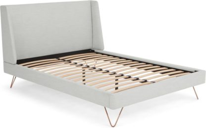 An Image of Elona Double Bed, Snow Grey Weave
