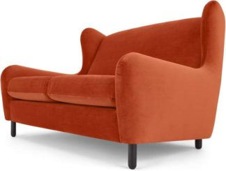 An Image of Rubens 2 Seater Sofa, Flame Orange Velvet