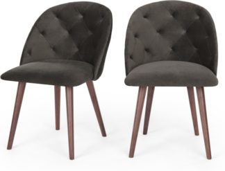 An Image of Set of 2 Clarris Dining Chairs, Otter Grey Velvet