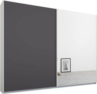 An Image of Malix 2 door 225cm Sliding Wardrobe, White frame,Matt Graphite Grey & Mirror doors , Premium Interior