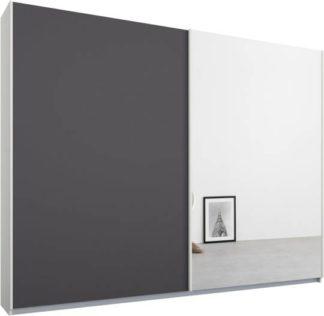 An Image of Malix 2 door 225cm Sliding Wardrobe, White frame,Matt Graphite Grey & Mirror doors, Standard Interior