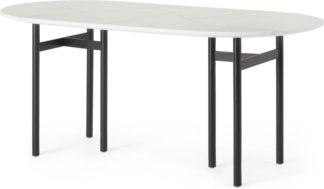 An Image of Tanaro 6 Seat Oval Dining Table, Marble and Brass