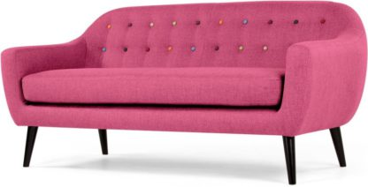 An Image of Ritchie 3 Seater Sofa, Candy Pink with Rainbow Buttons