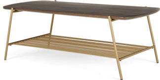 An Image of Bortolin Coffee Table, Mango Wood and Brass