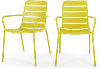 An Image of MADE Essentials Set of 2 Tice Garden Dining Chair, Chartreuse