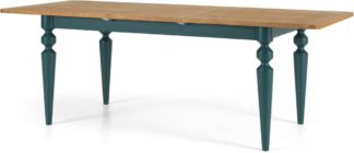 An Image of Betty 6-8 Seat Extending Dining Table, Oak and Teal