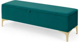 An Image of Linnell Ottoman Bench, Seafoam Blue Velvet
