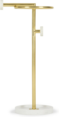 An Image of Sakari Marble Umbrella Stand, Brushed Brass