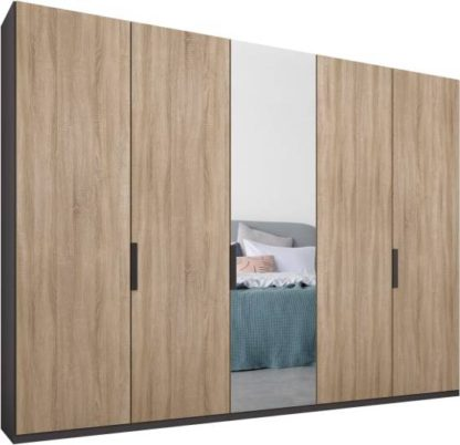 An Image of Caren 5 door 250cm Hinged Wardrobe, Graphite Grey Frame, Oak & Mirror Doors, Standard Interior