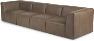 An Image of Juno 4 Seater Modular Sofa, Columbus Brown Leather
