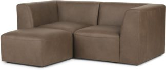 An Image of Juno 2 Seater Sofa with Footstool, Columbus Brown Leather