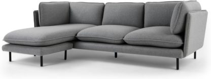 An Image of Wes 3 Seater Chaise End Corner Sofa, Elite Grey