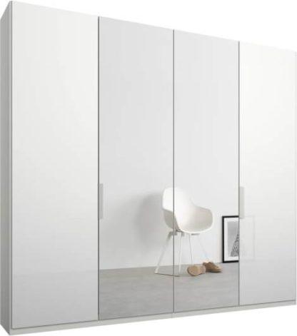 An Image of Caren 4 door 200cm Hinged Wardrobe, White Frame, White Glass & Mirror Doors, Classic Interior