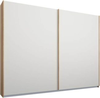 An Image of Malix 2 door 225cm Sliding Wardrobe, Oak frame,Matt White doors , Classic Interior