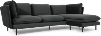 An Image of Wes 3 Seater Chaise End Corner Sofa, Midnight Grey Velvet