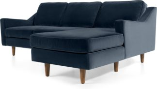 An Image of Dallas Right Hand Facing Chaise End Corner Sofa, Navy Cotton Velvet