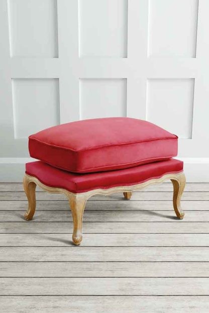 An Image of Le Notre French Vintage Style Shabby Chic Oak Stool Cranberry