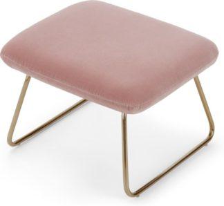 An Image of Frame Footstool, Blush Pink Cotton Velvet