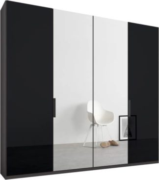An Image of Caren 4 door 200cm Hinged Wardrobe, Graphite Grey Frame, Basalt Grey Glass & Mirror Doors, Standard Interior