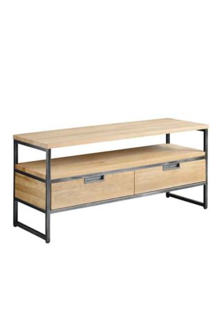 An Image of Qubix Industrial Media Unit - Solid oak and steel
