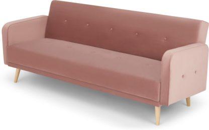 An Image of Chou Click Clack Sofa Bed, Velvet Vintage Pink
