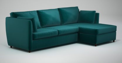 An Image of Custom MADE Milner Right Hand Facing Corner Storage Sofa Bed with Foam Mattress, Tuscan Teal Velvet