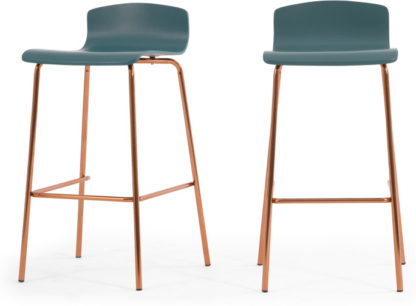 An Image of Set of 2 Syrus Barstools, Teal and Copper