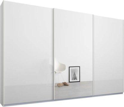 An Image of Malix 3 door 270cm Sliding Wardrobe, White frame,White Glass doors , Premium Interior