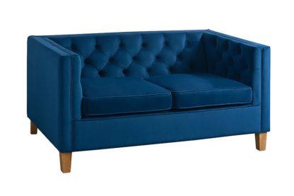An Image of Miasto 2 Seater Sofa Ink Blue Velvet