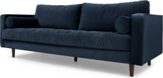 An Image of Scott 3 Seater Sofa, Navy Cotton Velvet