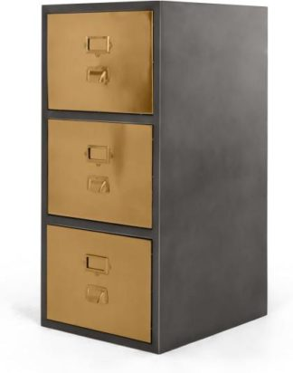 An Image of Stow Filing Cabinet 3 drawers, Vintage Brass