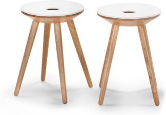 An Image of Set of 2 Kitson Stools, Natural Wood and White