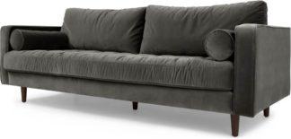 An Image of Scott 3 Seater Sofa, Concrete Cotton Velvet