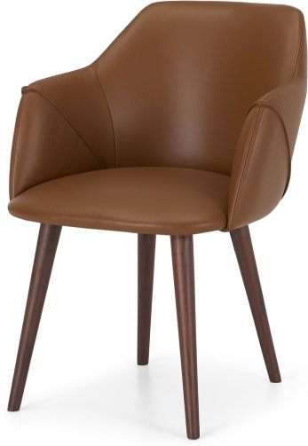 An Image of Lule Carver Chair, Tan Leather & Walnut