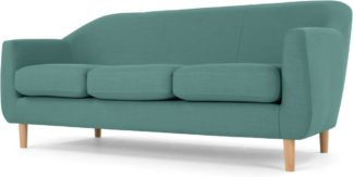 An Image of Tubby 3 Seater Sofa, Soft Teal