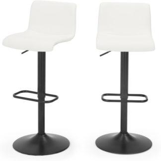 An Image of Set of 2 Sean Adjustable Bar Stools, White