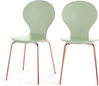 An Image of Set of 2 Kitsch Dining Chairs, Mint Green and Copper