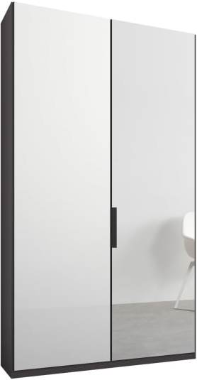 An Image of Caren 2 door 100cm Hinged Wardrobe, Graphite Grey Frame, White Glass & Mirror Doors, Premium Interior