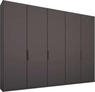 An Image of Caren 5 door 250cm Hinged Wardrobe, Graphite Grey Frame, Matt Graphite Grey Doors, Standard Interior