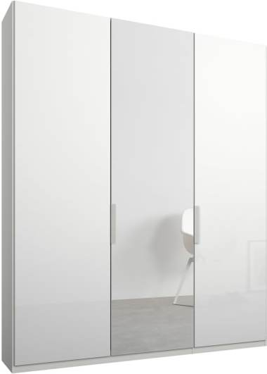 An Image of Caren 3 door 150cm Hinged Wardrobe, White Frame, White Glass & Mirror Doors, Classic Interior