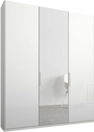 An Image of Caren 3 door 150cm Hinged Wardrobe, White Frame, White Glass & Mirror Doors, Standard Interior