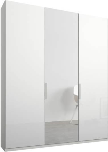 An Image of Caren 3 door 150cm Hinged Wardrobe, White Frame, White Glass & Mirror Doors, Standard Interior