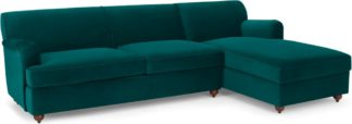 An Image of Orson Right Hand Facing Chaise End Sofa Bed, Velvet Seafoam Blue